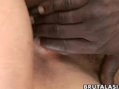 Oriental bitch shares several rock hard cocks in a trio