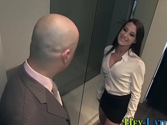 Busty latin chick gets cumshot