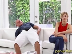 StepDaughter gets fucked by elderly StepDad next alongside Sister