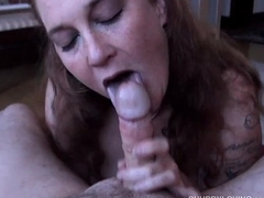 Naughty chubby honey loves to helter-skelter a super sexy sloppy blowjob