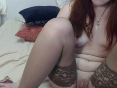 Sexy Redhead with Lingerie Stockings on the top of webcam - GirlTeenCams.com