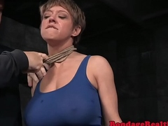 Breastbonded be seated stimulated on touching sextoy
