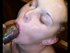 Crestfallen vapid wife engulfing obese black cock again and taking facial spunk fountain