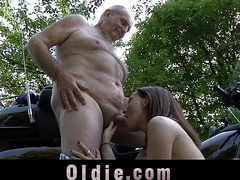 Young petite girl swallows old cum receipt grandpa cock tool along