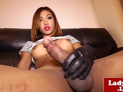 Shove around ladyboy jerksoff cock with handgloves
