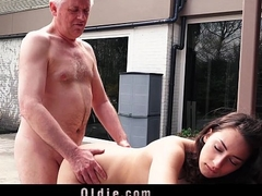 Naughty Grandpa Fucks My Teen Step-sister Licks Pussy That babe Swallows Cum