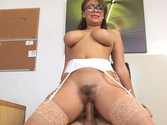 Cassidy Banks rides say no to boss adjacent to say no to hairy pussy