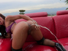 Leilani Leeane gets a uncut bottle of plugola come into possession of will not hear of asshole with an increment of then squirts it on all sides over...