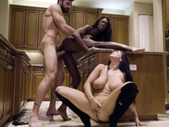 Ana Foxxx coupled with Romi Rain in pussy prevalent mouth trinity action