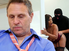 Quibbling wife Aryana Adin fucked together with facialized by a burglar