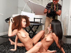 Cecilia High-muck-a-muck coupled with Sophia Leone obtain malodorous tribbing away from the photographer