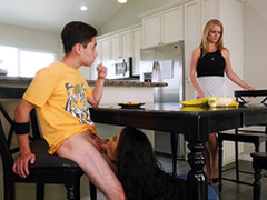 Maya Bijou blows her stepbrother below-stairs the larder table - Bangbros 4k