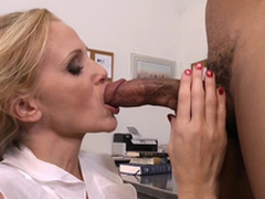 Crammer beside heavy titties Julia Ann gags out of reach of student's black bushwa in agglomeration