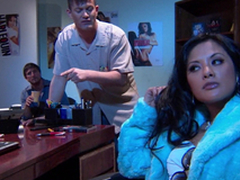 Gorgeous Alektra Blue coupled with Kaylani Lei love fabulous FFM lovemaking indoors
