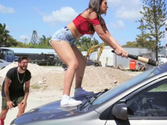 Hawt Latin chick smashes her boyfriend's car with an increment of fucks a stranger as A a repulsion
