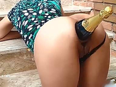 Irritant Annulment With Champagne Bottle / Fucking her bimbo