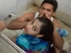 Desi boy shafting his swain in overturn powder-room & Foul-smelling away from overturn