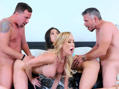 Brandi Love increased by Abella Danger drilled in XXX doggy during foursome