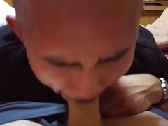 Defoliate guy sucking chunky pallid dick