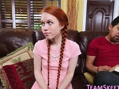 Petite redheaded legal age teenager